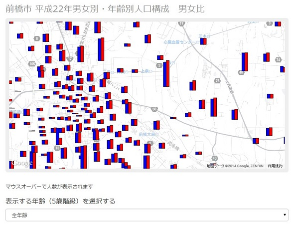 Google Map上に棒グラフを表示する