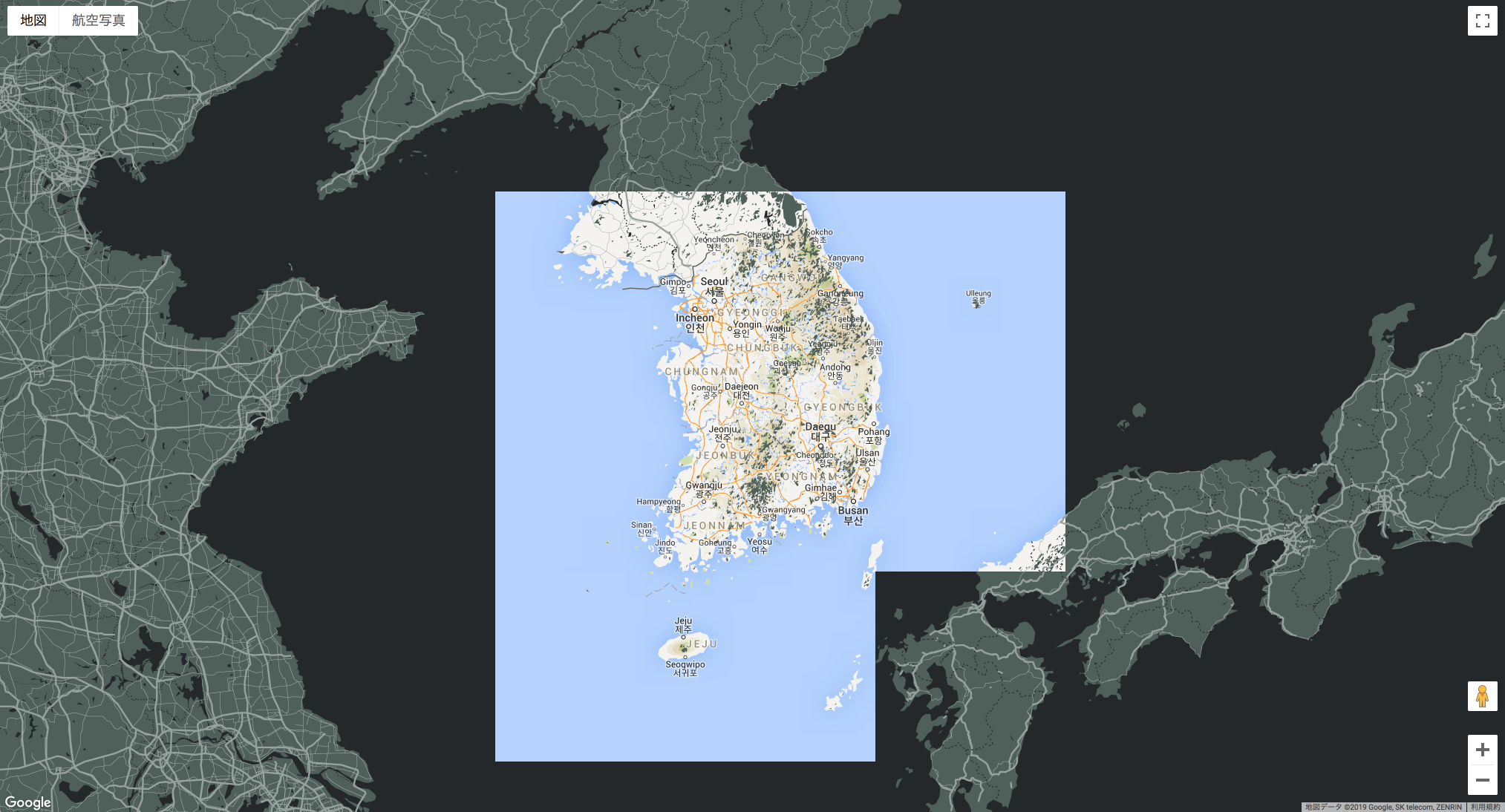 Custom style of Google Map does not apply to Korea