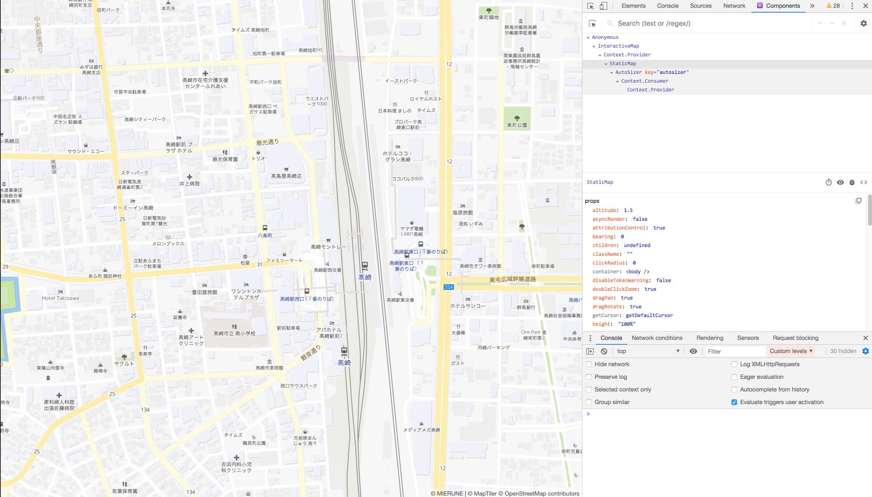 MapTiler(MIERUNE Style)&react-map-gl