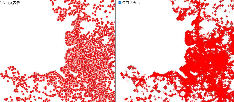 カスタムシェーダーを使ってクロス表示を行った図